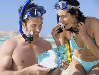 Waterproof guides for snorkelers